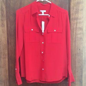 NWT red silk Jcrew blouse